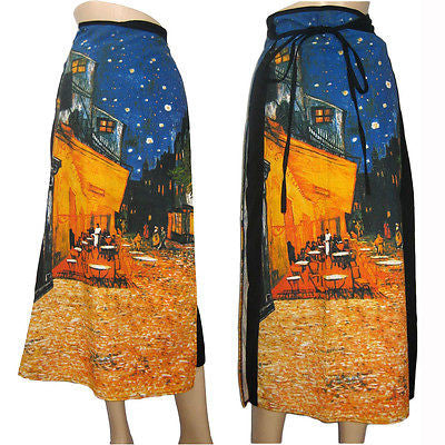 Van Gogh CAFE TERRACE At NIGHT Freesize Long Cotton Wrap Skirt PN Fine Art Print