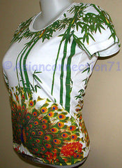 PEACOCK in Bamboo Asian Art Print Short Cap Sleeve PN T Shirt Misses S M L XL
