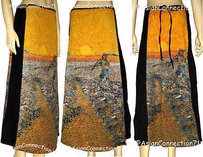 Van Gogh Seminatore Col Sole Fine Art Print Freesize Long Cotton Wrap Skirt NEW