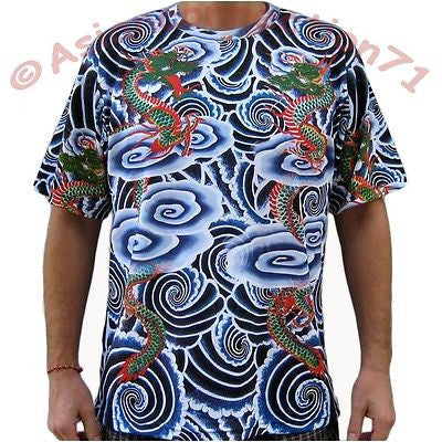 RYU DRAGONS Japan Biker Tattoo IREZUMI Art T Shirt Short Sleeve Mens M L XL