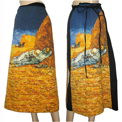 Van Gogh LA SIESTE Freesize Cotton Wrap Fine Art Print Long Skirt S-XL New by PN