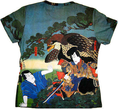 Hayabusa Samurai New Japanese Art Print T Shirt Misses Cap Sleeve S M L XL