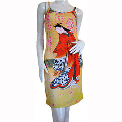 RED KIMONO Under SAKURA Japanese Ukiyoe Art Print Dress S M L XL