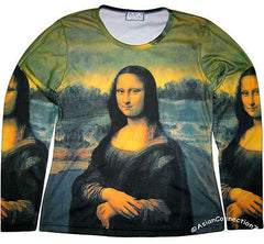 MONA LISA Leonardo Da Vinci LONG SLEEVE Fine Art Print T-Shirt Misses Size XL PN