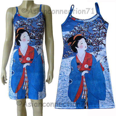 WINTER SNOW GEISHA Japanese UKIYOE Art Print Dress Misses S M L XL