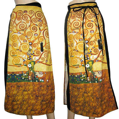 TREE of LIFE Gustav KLIMT Fine Art Print Long Cotton Wrap Skirt FREESIZE PN New