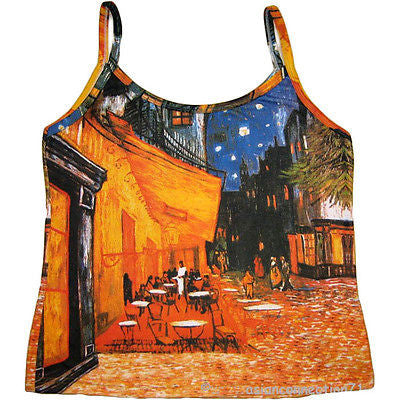 CAFE TERRACE at NIGHT Van Gogh Fine Art Print Shirt Singlet TANK TOP S M L XL
