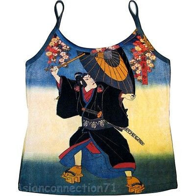 KABUKI Hand Print Japanese Ukiyoe Art Shirt Singlet TANK TOP Misses S M L XL New