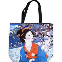 WINTER SNOW GEISHA Japanese Fine Art Print Bag Sling Purse Messenger Tote S or L
