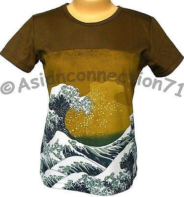 Hokusai GIANT WAVE Japan Ukiyoe Art Print Cap Sleeve T Shirt Misses S M L XL