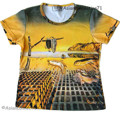 Dali DISINTEGRATION OF MEMORY Art Print T Shirt Misses Cap Sleeve S M L XL