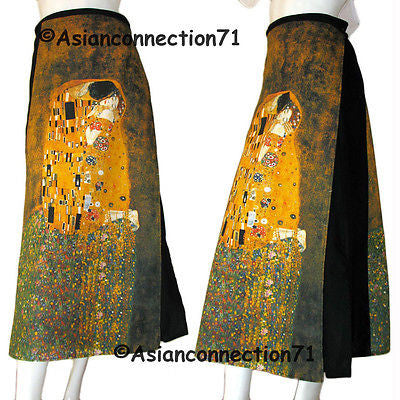 THE KISS Gustav KLIMT Fine Art Print Long Cotton Wrap Skirt FREESIZE