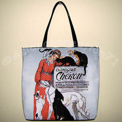 CLINIQUE CHERON Steinlen Art Print Bag Sling Purse Messenger Tote Large L
