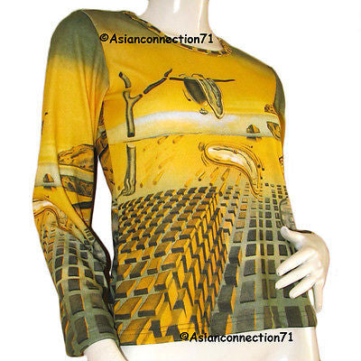 Salvador Dali DISINTEGRATION OF MEMORY Long Sleeve Art T Shirt Misses S M L XL