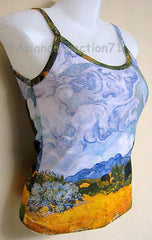 Van Gogh WHEAT FIELD with CYPRESSES Art Print Shirt Singlet TANK TOP Misses S M L XL