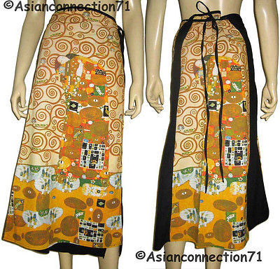 Gustav KLIMT The Embrace Fine Art Print Long Cotton Wrap Skirt FREESIZE PN New
