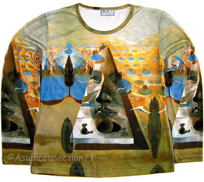 Salvador Dali PYRAMID Of FORTUNE Long Sleeve Fine Art Print T Shirt Misses S M L XL