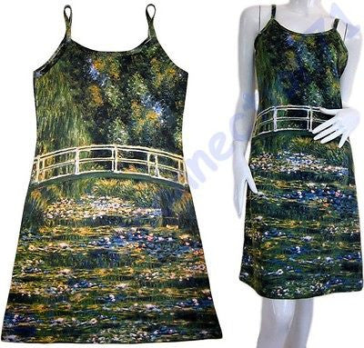 Monet WATER LILY POND Impressionist Fine Art Print Dress Misses S M L XL