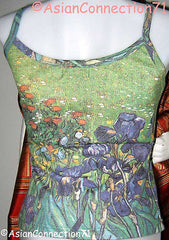 Van Gogh IRISES Shirt Singlet TANK TOP Fine Art Print Misses S M L XL New by P&N