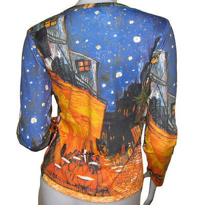 Cafe Terrace Vincent VAN GOGH Long Sleeve Art T Shirt Misses S M L XL