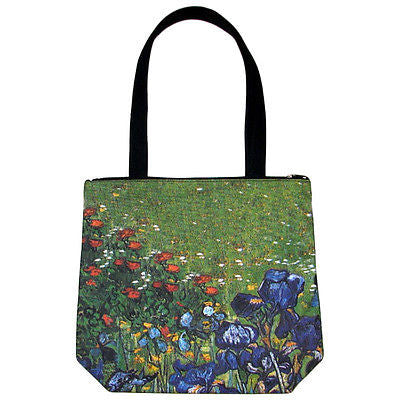 IRISES New VAN GOGH Hand Printed Fine Art Bag Purse Sling Messenger Tote S Small