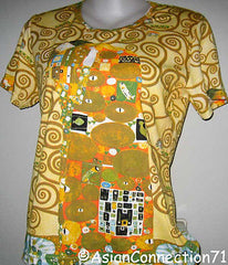 THE EMBRACE Gustav Klimt Fine Art Print T Shirt Misses Cap Sleeve S M L XL New