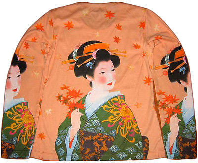 Japanese AUTUMN GEISHA New LONG SLEEVE Japan Art Print T Shirt Misses XL
