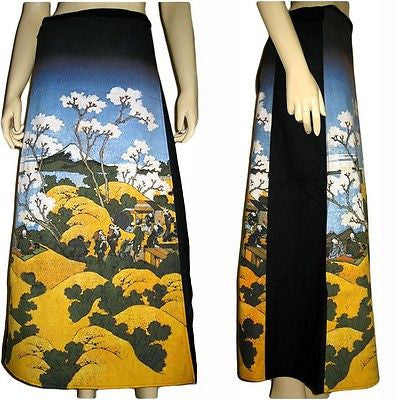 FUGAKU Hokusai Japan Ukiyoe Long Cotton Wrap Japanese Fine Art Print Skirt S-XL
