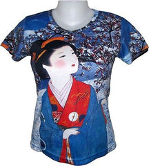 Winter Snow Geisha Japanese Art Print T-shirt Misses Cap Sleeve S M L XL New PN