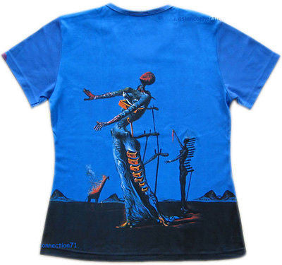 Salvador Dali BURNING GIRAFFE Fine Art Print T Shirt Misses Cap Sleeve S M L XL