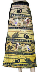 USAGI FOLKLORE Japanese Ukiyoe Long Cotton Wrap Japan Art Print Skirt S-XL New