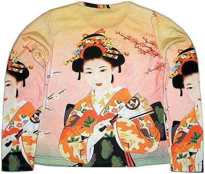 Geisha with Sensu LONG SLEEVE Art Shirt Misses S,M,L,XL