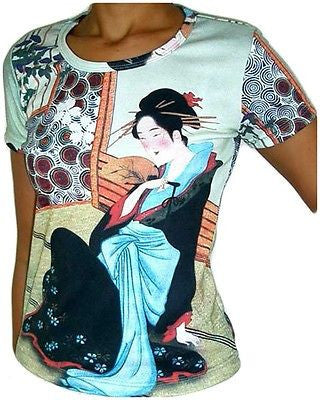 Merry Geisha Japanese Ukiyoe Art Print Cap Sleeve T Shirt Misses S M L XL