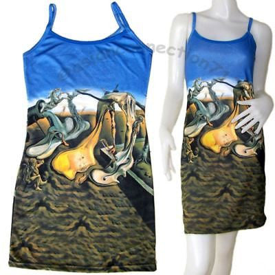 DADDY LONGLEGS HOPE Salvador Dali Hand Print Art Dress Misses S M L XL