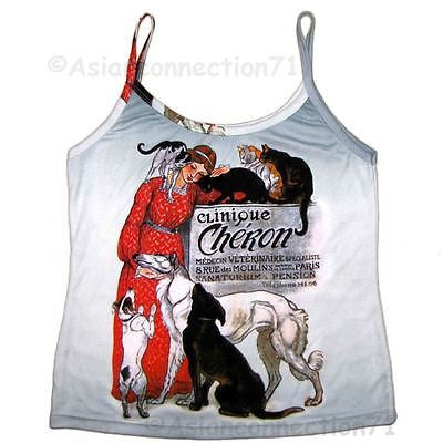 CLINIQUE CHERON Alexander STEINLEN Art Print Shirt Singlet TANK TOP Misses S M L XL
