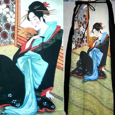 MERRY GEISHA Freesize Japanese Art Print Long Cotton Wrap Skirt One Size S-XL