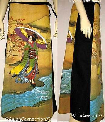 UTAMARO Ukiyoe Japanese Art Print Freesize Long Cotton Japan Wrap Skirt S-XL