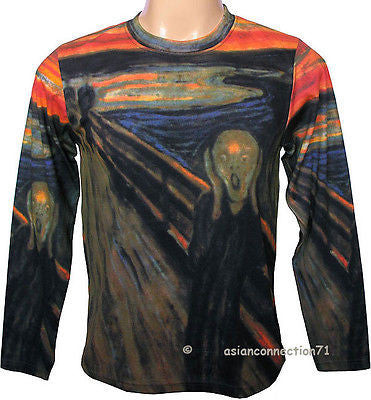 THE SCREAM Edvard Munch LONG SLEEVE Fine Art Print PN T-Shirt Men's M L XL