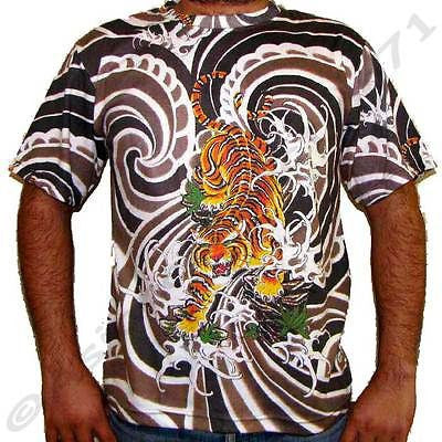 Japanese TIGER IREZUMI Tattoo Art Print Biker T Shirt Mens M L XL Short Sleeve