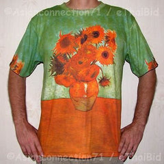 Van Gogh SUNFLOWERS Tournesols New Fine Art Hand Print PN T Shirt Mens XL NWOT