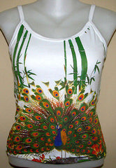 PEACOCK In Bamboo Asian Art Print Shirt TANK TOP Singlet Misses S M L XL