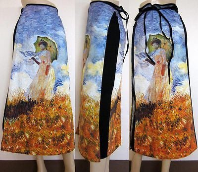 Monet WOMAN with PARASOL Fine Art Print Long Cotton Wrap Skirt Freesize S-XL