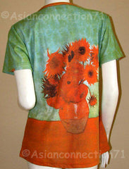 SUNFLOWERS Van Gogh Tournesols Cap Sleeve Fine Art Print T Shirt Misses S M L XL