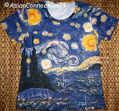 Van Gogh STARRY NIGHT Cap Sleeve Fine Art Print T Shirt Misses S M L XL New