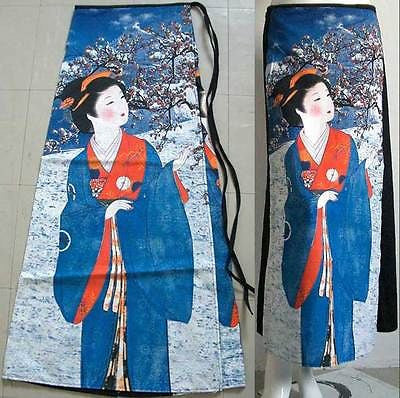 WINTER SNOW GEISHA Japanese Ukiyoe Art Print Freesize Cotton Wrap Skirt S-XL PN