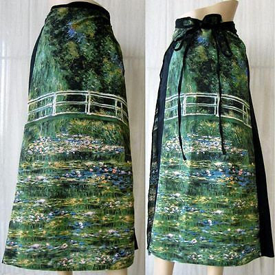 Monet WATER LILY POND New Hand Print Long Wrap Cotton PN Art Skirt Freesize S-XL