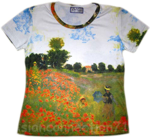 POPPIES Claude Monet Fine Art Print Cap Sleeve T shirt Misses M Medium NEW