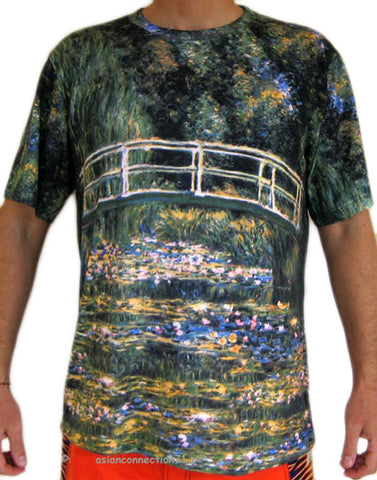 WATER LILY POND Claude MONET Hand Print Fine Art PN T Shirt Mens M L XL