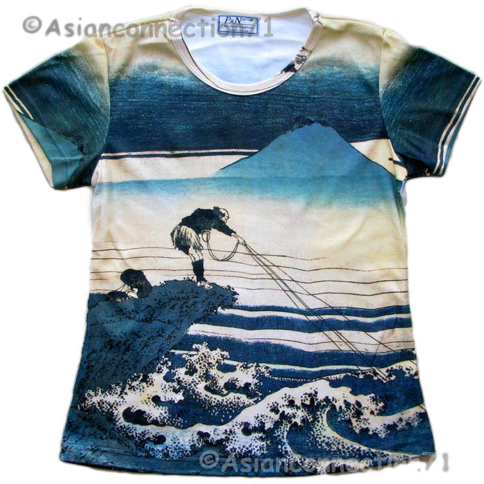 FISHERMAN Ukiyoe Old Man Japan Art Print Cap Sleeve T Shirt Misses S M L XL