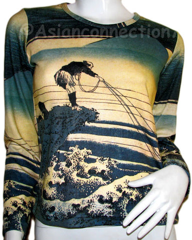 FISHERMAN Japanese Ukiyoe Fine Art Print Long Sleeve PN T Shirt Misses S M L XL